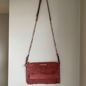 Burberry Pink Peyton Suede Fringe Crossbody Bag